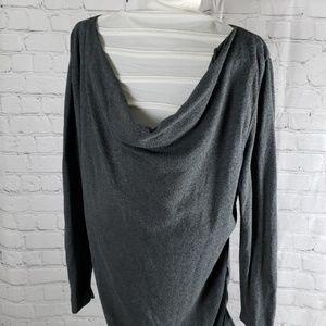 Gray scoop neck tunic maternity sweater